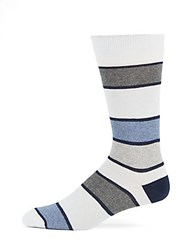 Saks Fifth Avenue Made In Italy Striped Tri Blend Socks Light Blue