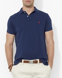 Polo Ralph Lauren Custom Short Sleeved Cotton Mesh Polo Slim Fit Newport Navy