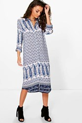 Boohoo Nelda Paisley Printed Shirt Dress Multi