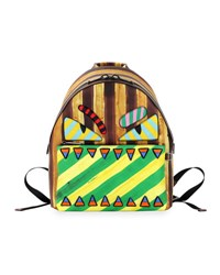 Fendi Striped Monster Novelty Backpack Multi Brown