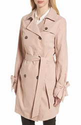French Connection Tie Cuff Water Resistant Trench Coat Blush