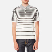 Paul Smith Ps By Men's Short Sleeve Knitted Striped Polo Shirt Grey White