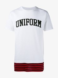 Uniform Experiment Logo Stripe Cotton T Shirt White Black Red