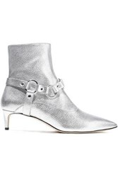 Altuzarra Davidson Metallic Textured Leather Ankle Boots Silver