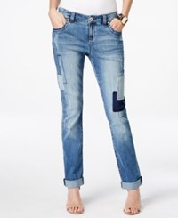 Inc International Concepts Petite Patchwork Indigo Wash Boyfriend Jeans Only At Macy's