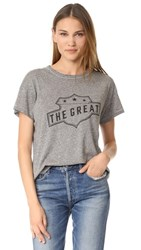 The Great Great. Boxy Crew Tee Heather Grey With Black Badge