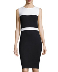 St. John Santana Knit Sleeveless Colorblock Dress Onyx White