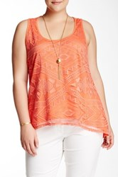 Halo Aztec Hi Lo Tank And Necklace Plus Size Pink