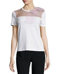 Red Valentino Short Sleeve T Shirt W Lace Bow Lilac