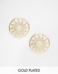 Ny Lon Nylon Gold Plated Sun Disk Stud Earrings Gold