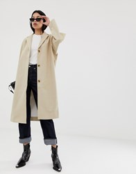 Weekday Linen Mix Coat In Beige