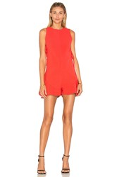 Kendall Kylie Flutter Lace Up Romper Red