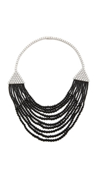 Kenneth Jay Lane Deco Bib Necklace Black