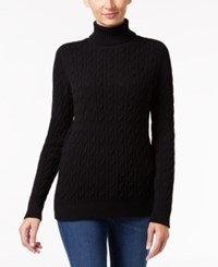 Charter Club Cable Knit Turtleneck Sweater Only At Macy's Deep Black