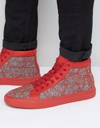 Asos High Top Trainers In Red With Chunky Sole Red