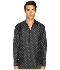 Marc Jacobs Slim Fit Silk Twill Button Up Pirate Black Combo Men's Clothing