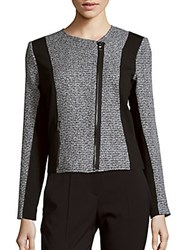 T Tahari Colorblocked Tweed Jacket Black White