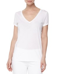 Skin Easy V Neck Cotton Tee White