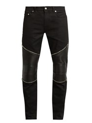 Saint Laurent Contrast Panel Skinny Biker Jeans Black