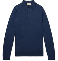 John Smedley Lanlay Slim Fit Sea Island Cotton And Cashmere Blend Polo Shirt Indigo