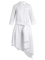 Osman Layla Asymmetric Hem Striped Cotton Dress White