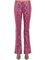 Marques Almeida Boot Cut Snake Printed Leather Pants Multicolor
