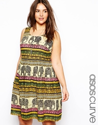 Asos Curve Sundress In Elephant Print Multi