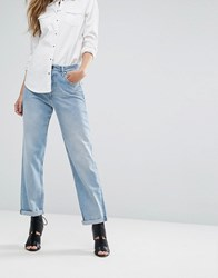 Replay High Waist Slouchy Boyfriend Jean With Slogan Back Pocket Vintage Wash Blue