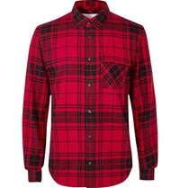 Aztech Mountain Loge Peak Shell Panelled Checked Brushed Cotton Flannel Shirt Red