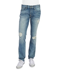 Guess Distressed Slim Straight Leg Jeans Blue