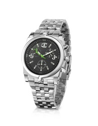 Just Cavalli Ular Black Logo Dial Chronograph Bracelet Watch Silver