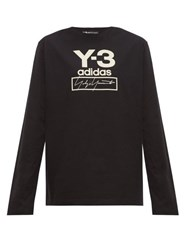 Y 3 Stacked Logo Long Sleeved Cotton T Shirt Black