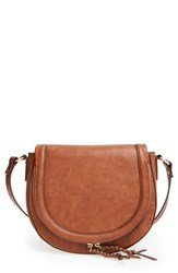 Sole Society 'Thalia' Faux Leather Crossbody Bag Brown