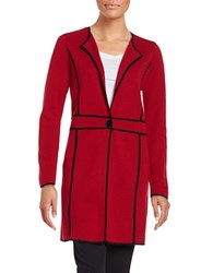 Nipon Boutique Contrast Knit Topper Fire Red