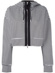 Diesel Black Gold Cropped Striped Hoodie White