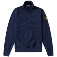 Stone Island Garment Dyed Zip And Button Sweat Blue