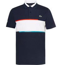 Lacoste Tennis Slim Fit Jersey And Pique Polo Shirt Blue