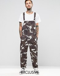 Reclaimed Vintage Camo Dungarees Camo Green