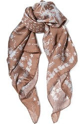Roberto Cavalli Pretty Thing Printed Silk Georgette Scarf Sand