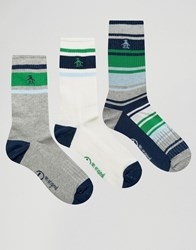 Original Penguin 3 Pack Retro Sport Style Socks Navy