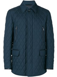Brioni Flap Pockets Quilted Jacket Men Silk Cotton Calf Leather Wool Xl Blue