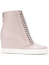 Casadei Chain Trimmed Wedge Sneakers Pink And Purple