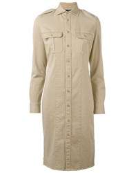 Polo Ralph Lauren Military Style Shirt Dress Nude Neutrals