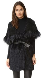 Yves Salomon Rabbit Fur Hooded Vest Marine
