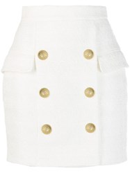 Balmain X Julian Fashion Tweed Mini Skirt White