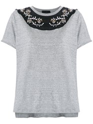 Andrea Bogosian Embroidered Blouse Women Cotton Pp Grey