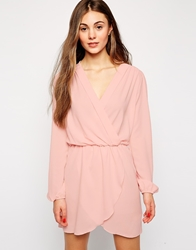 Love Wrap Dress With Long Sleeves Pink