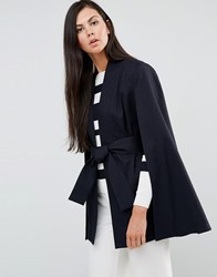 Finders Keepers Best Kind Cape Jacket Navy Speck