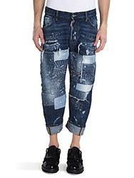Viktor And Rolf Distressed Patch Jeans Blue