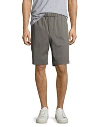 Vince Cotton Blend Pull On Twill Shorts Gray